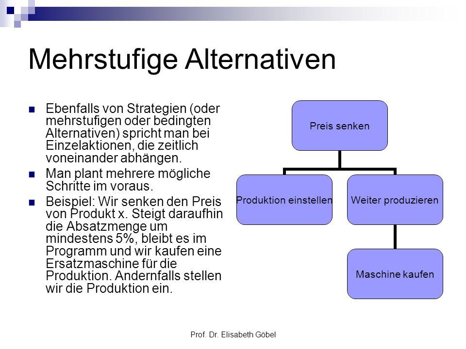 Prof. Dr. Elisabeth Göbel Mehrstufige Alternativen Ebenfalls von Strategien (oder mehrstufigen oder bedingten Alternativen) spricht man bei Einzelakti