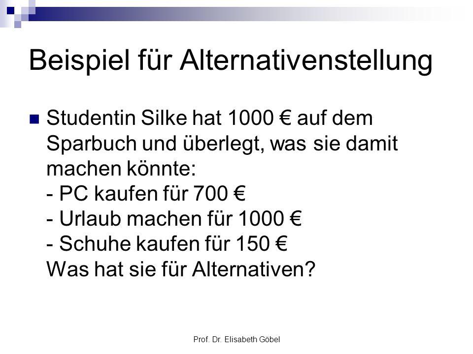 Prof. Dr. Elisabeth Göbel Beispiel für Alternativenstellung Studentin Silke hat 1000 auf dem Sparbuch und überlegt, was sie damit machen könnte: - PC