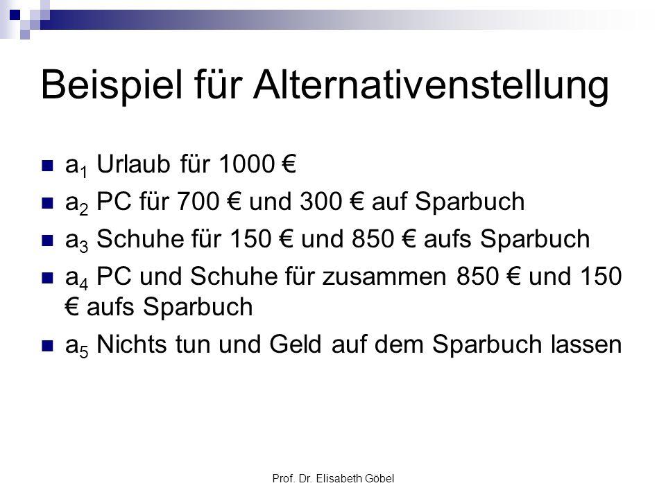 Prof. Dr. Elisabeth Göbel Beispiel für Alternativenstellung a 1 Urlaub für 1000 a 2 PC für 700 und 300 auf Sparbuch a 3 Schuhe für 150 und 850 aufs Sp