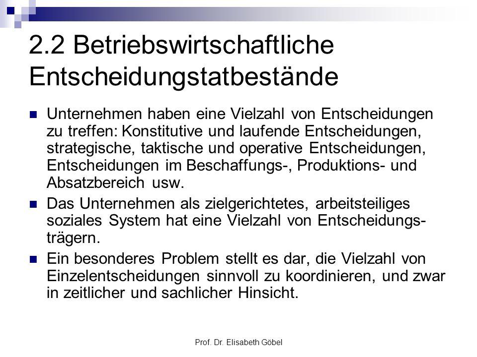 Prof. Dr. Elisabeth Göbel 2.2 Betriebswirtschaftliche Entscheidungstatbestände Unternehmen haben eine Vielzahl von Entscheidungen zu treffen: Konstitu