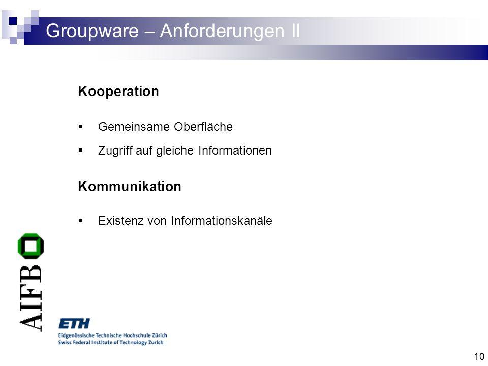 10 Groupware – Anforderungen II Kooperation Gemeinsame Oberfläche Zugriff auf gleiche Informationen Kommunikation Existenz von Informationskanäle