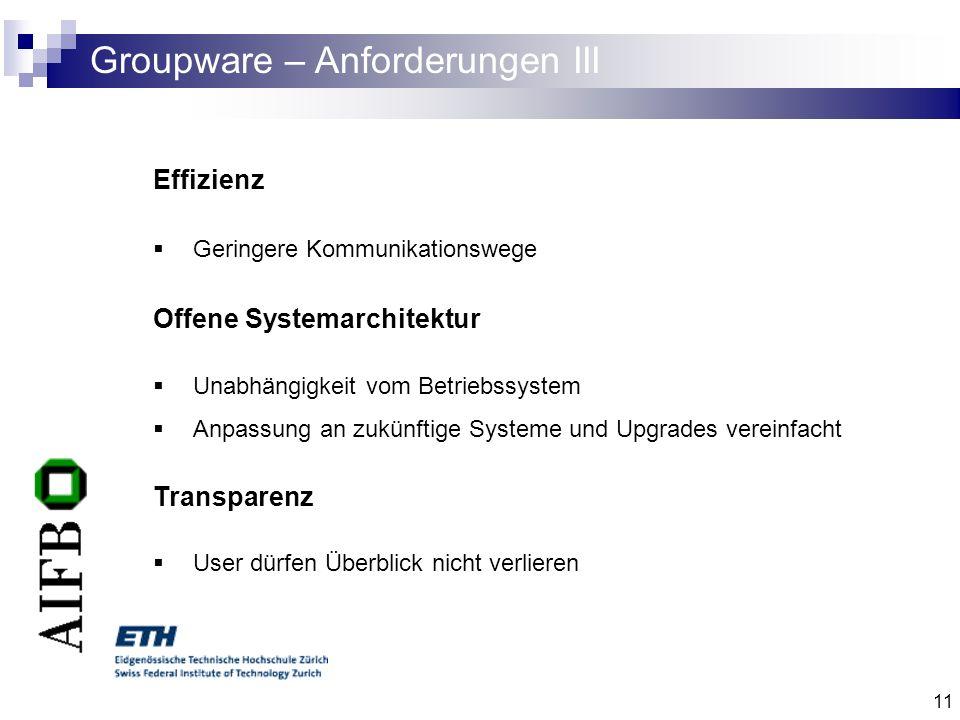 11 Groupware – Anforderungen III Effizienz Geringere Kommunikationswege Offene Systemarchitektur Unabhängigkeit vom Betriebssystem Anpassung an zukünf