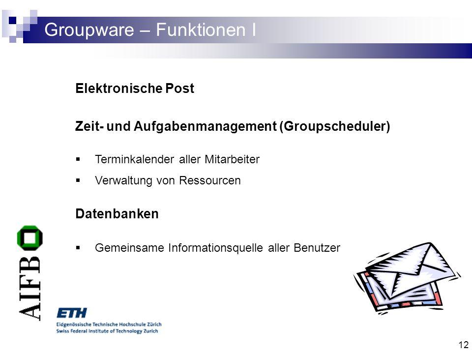 12 Groupware – Funktionen I Elektronische Post Zeit- und Aufgabenmanagement (Groupscheduler) Terminkalender aller Mitarbeiter Verwaltung von Ressource