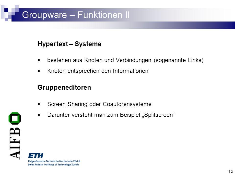 13 Groupware – Funktionen II Hypertext – Systeme bestehen aus Knoten und Verbindungen (sogenannte Links) Knoten entsprechen den Informationen Gruppene