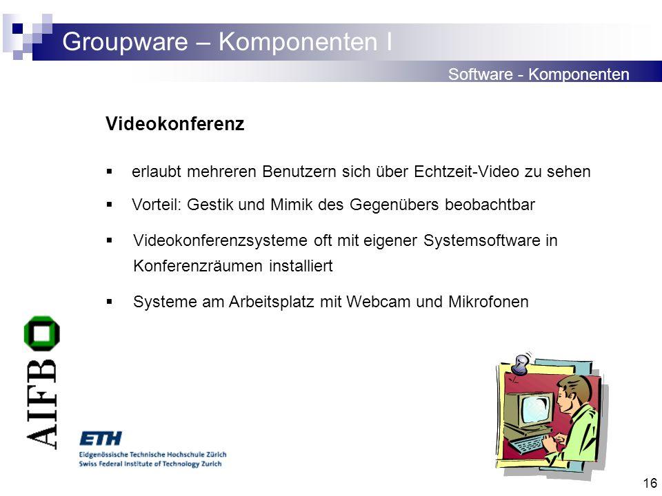 16 Groupware – Komponenten I Software - Komponenten Videokonferenz erlaubt mehreren Benutzern sich über Echtzeit-Video zu sehen Vorteil: Gestik und Mi