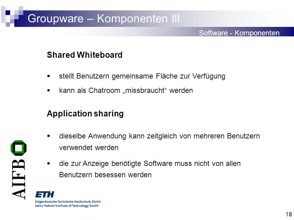 18 Groupware – Komponenten III Software - Komponenten Shared Whiteboard stellt Benutzern gemeinsame Fläche zur Verfügung kann als Chatroom missbraucht