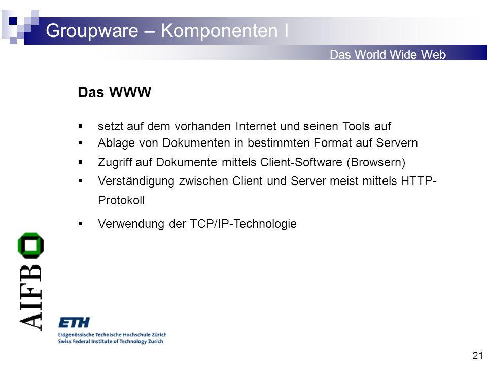 21 Groupware – Komponenten I Das World Wide Web Das WWW setzt auf dem vorhanden Internet und seinen Tools auf Ablage von Dokumenten in bestimmten Form