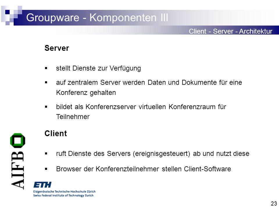 23 Groupware - Komponenten III Client - Server - Architektur Server stellt Dienste zur Verfügung auf zentralem Server werden Daten und Dokumente für e