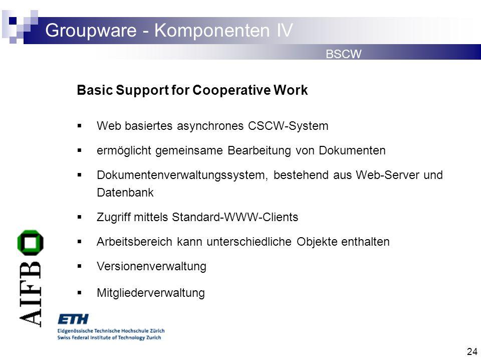 24 Groupware - Komponenten IV BSCW Basic Support for Cooperative Work Web basiertes asynchrones CSCW-System ermöglicht gemeinsame Bearbeitung von Doku