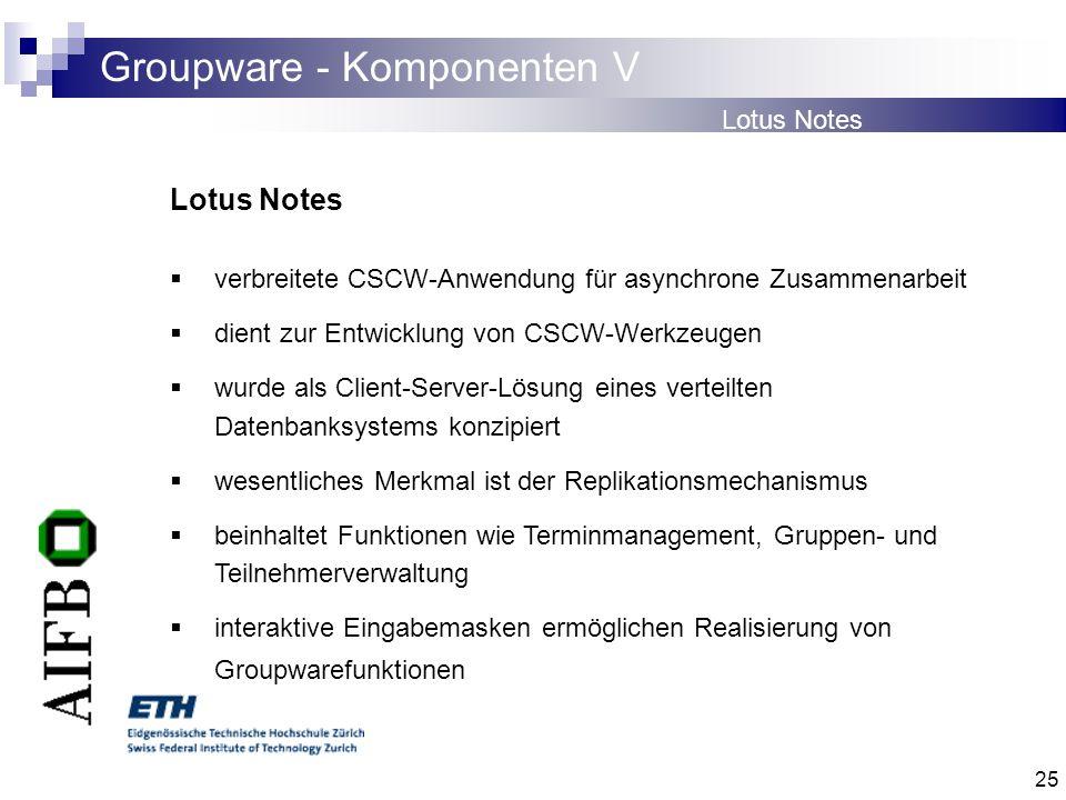25 Groupware - Komponenten V Lotus Notes verbreitete CSCW-Anwendung für asynchrone Zusammenarbeit dient zur Entwicklung von CSCW-Werkzeugen wurde als