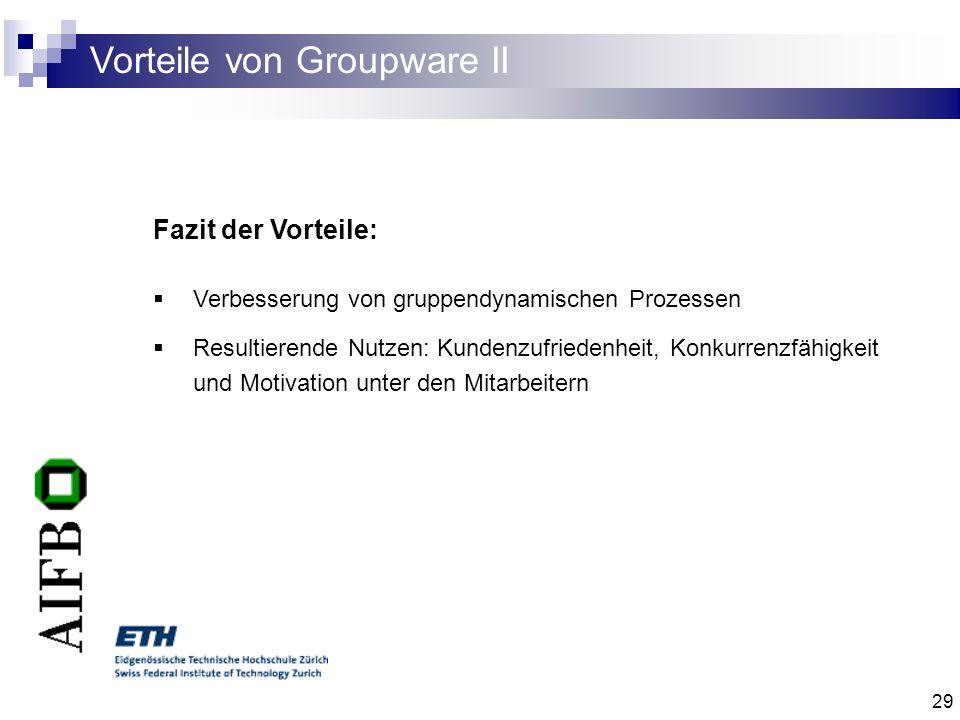 29 Vorteile von Groupware II Fazit der Vorteile: Verbesserung von gruppendynamischen Prozessen Resultierende Nutzen: Kundenzufriedenheit, Konkurrenzfä