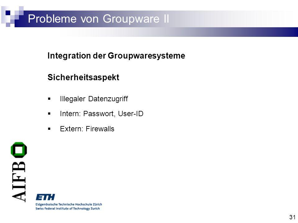 31 Probleme von Groupware II Integration der Groupwaresysteme Sicherheitsaspekt Illegaler Datenzugriff Intern: Passwort, User-ID Extern: Firewalls