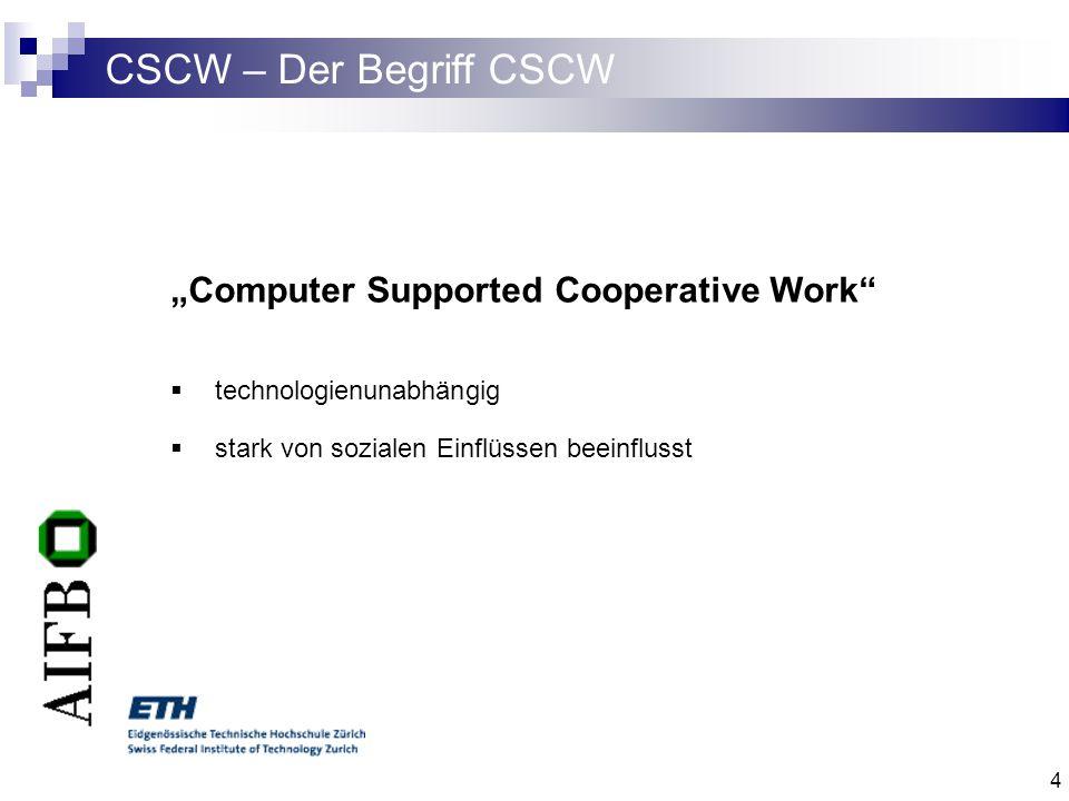 5 CSCW – Dimensionen von CSCW Zwei Dimensionen von CSCW Ort: zentral oder dezentral Zeit: synchron oder asynchron