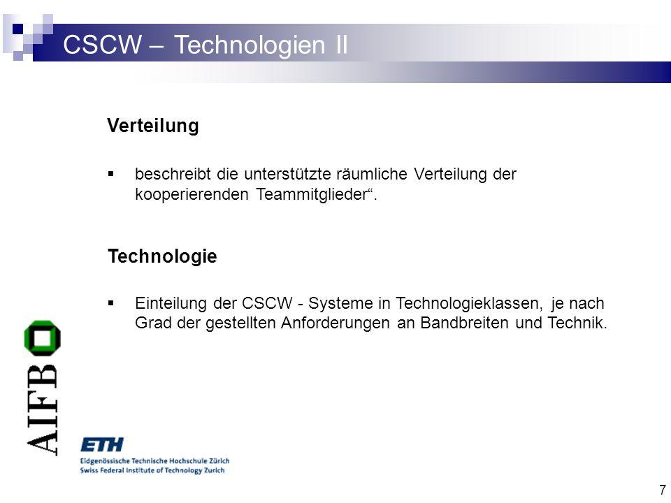 7 CSCW – Technologien II Verteilung beschreibt die unterstützte räumliche Verteilung der kooperierenden Teammitglieder. Technologie Einteilung der CSC