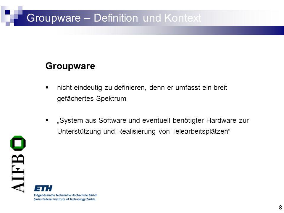 19 Groupware – Komponenten IV Software - Komponenten Product Library Application Speicherung aller für eine Groupware-Sitzung benötigten Informationen Zugriff mittels Webbrowser Strenge Zugriffskontrollen E-mail Multimediamail