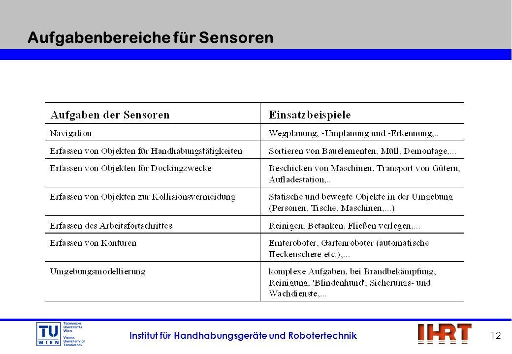 Institut für Handhabungsgeräte und Robotertechnik 12 Aufgabenbereiche für Sensoren