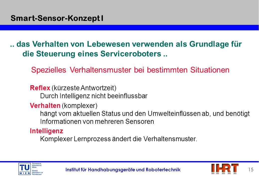 Institut für Handhabungsgeräte und Robotertechnik 15.. das Verhalten von Lebewesen verwenden als Grundlage für die Steuerung eines Serviceroboters.. S
