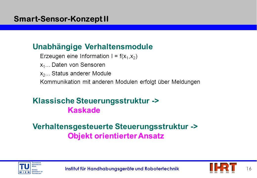 Institut für Handhabungsgeräte und Robotertechnik 16 Unabhängige Verhaltensmodule Erzeugen eine Information I = f(x 1,x 2 ) x 1... Daten von Sensoren