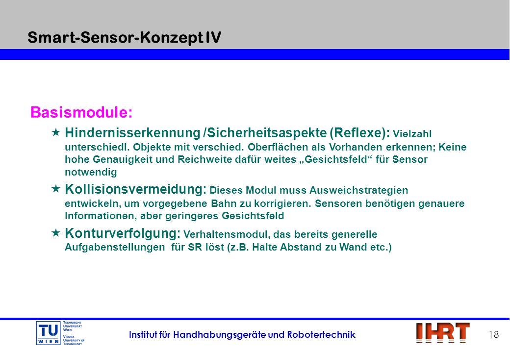Institut für Handhabungsgeräte und Robotertechnik 18 Basismodule: Hindernisserkennung /Sicherheitsaspekte (Reflexe): Vielzahl unterschiedl. Objekte mi
