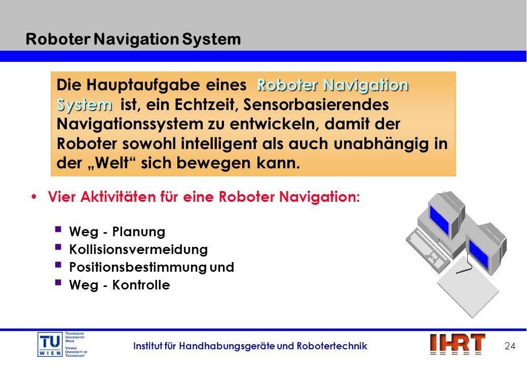 Institut für Handhabungsgeräte und Robotertechnik 24 Roboter Navigation System Vier Aktivitäten für eine Roboter Navigation: Weg - Planung Kollisionsv