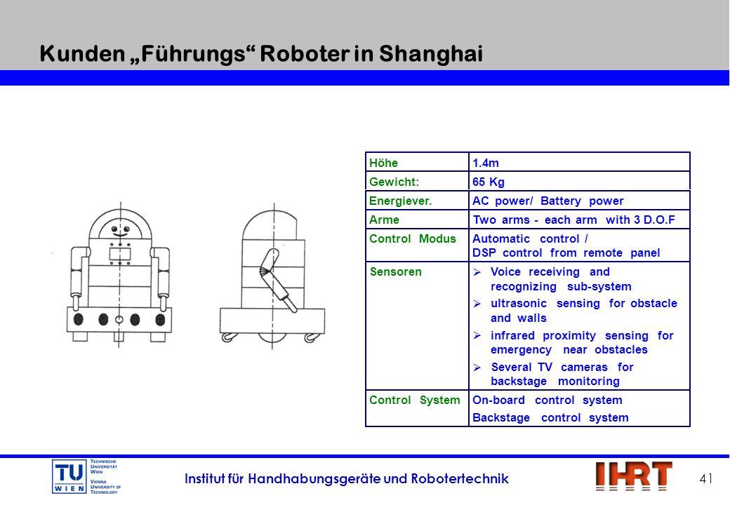 Institut für Handhabungsgeräte und Robotertechnik 41 Kunden Führungs Roboter in Shanghai