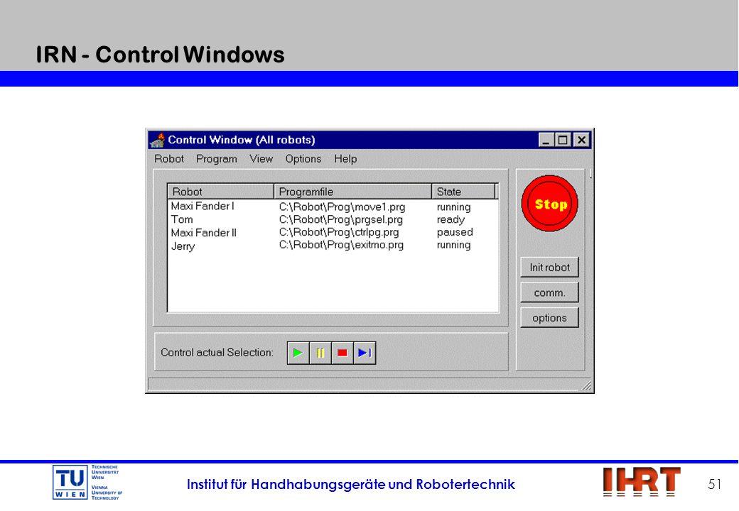 Institut für Handhabungsgeräte und Robotertechnik 51 IRN - Control Windows