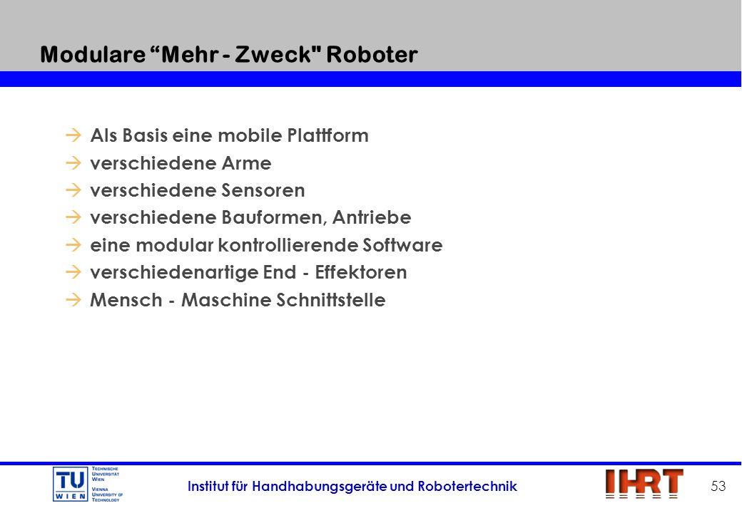 Institut für Handhabungsgeräte und Robotertechnik 53 Modulare Mehr - Zweck