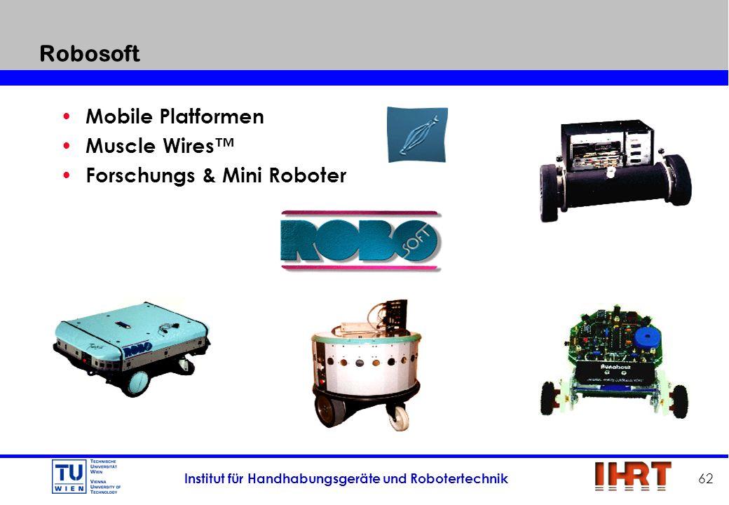 Institut für Handhabungsgeräte und Robotertechnik 62 Robosoft Mobile Platformen Muscle Wires Forschungs & Mini Roboter