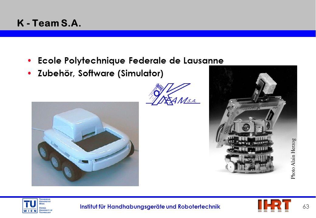 Institut für Handhabungsgeräte und Robotertechnik 63 K - Team S.A. Ecole Polytechnique Federale de Lausanne Zubehör, Software (Simulator)