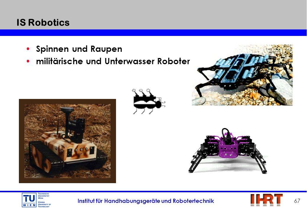 Institut für Handhabungsgeräte und Robotertechnik 67 IS Robotics Spinnen und Raupen militärische und Unterwasser Roboter