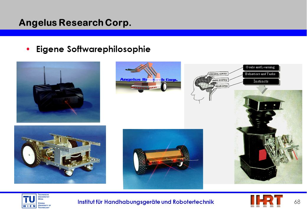 Institut für Handhabungsgeräte und Robotertechnik 68 Angelus Research Corp. Angelus Research Corp. Eigene Softwarephilosophie