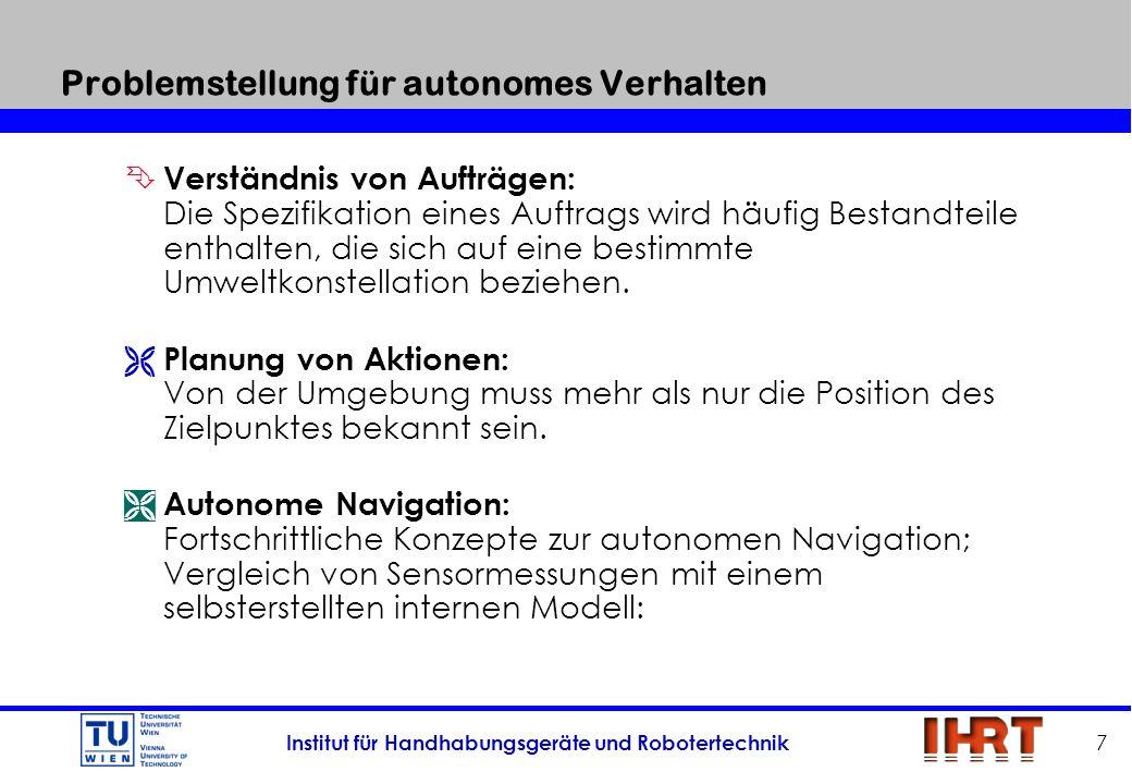 Institut für Handhabungsgeräte und Robotertechnik 7 Problemstellung für autonomes Verhalten Ê Verständnis von Aufträgen: Die Spezifikation eines Auftr
