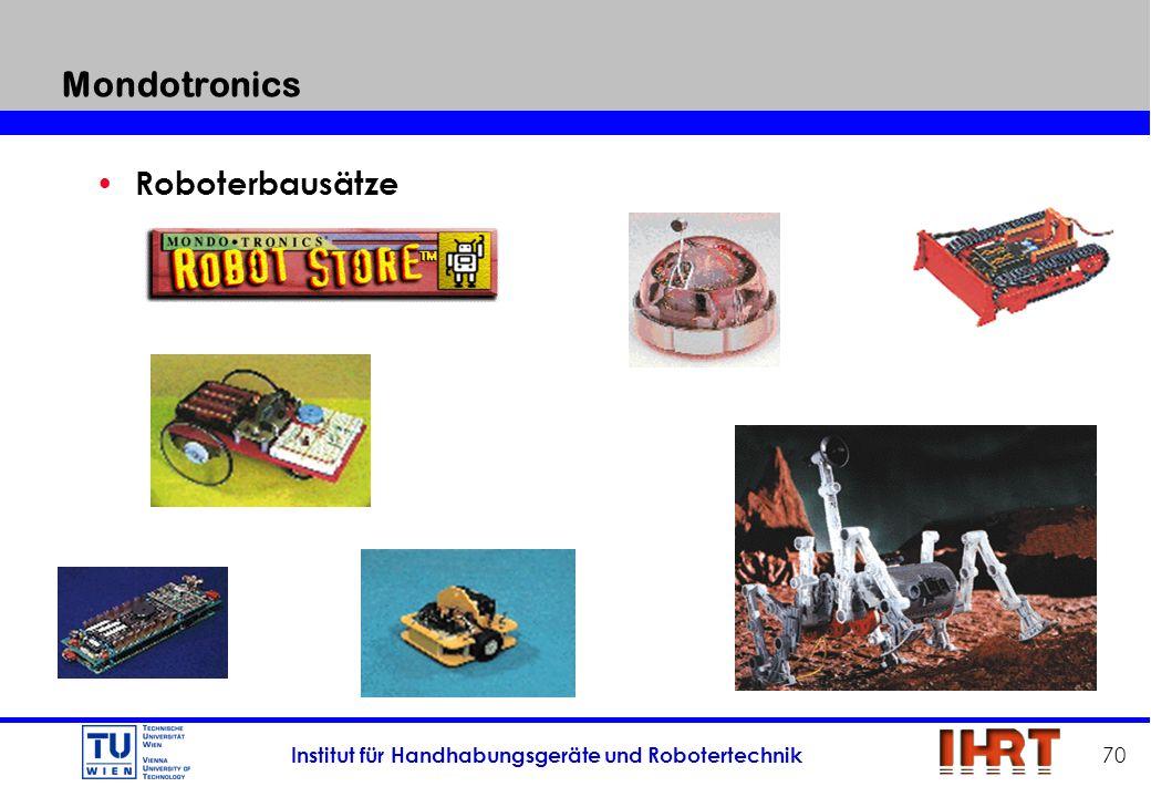 Institut für Handhabungsgeräte und Robotertechnik 70 Mondotronics Roboterbausätze
