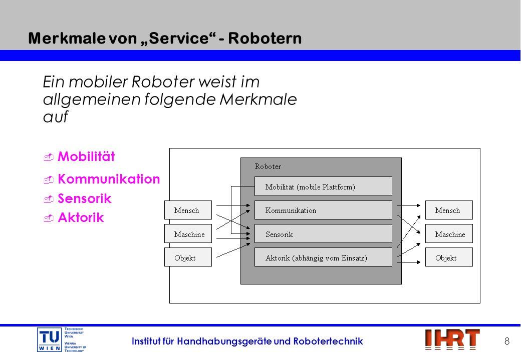 Institut für Handhabungsgeräte und Robotertechnik 8 Merkmale von Service - Robotern Ein mobiler Roboter weist im allgemeinen folgende Merkmale auf Mob