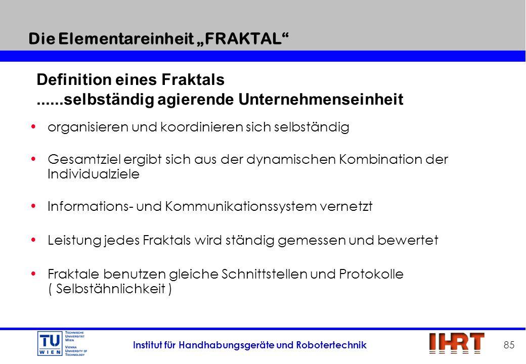 Institut für Handhabungsgeräte und Robotertechnik 85 Die Elementareinheit FRAKTAL organisieren und koordinieren sich selbständig Gesamtziel ergibt sic