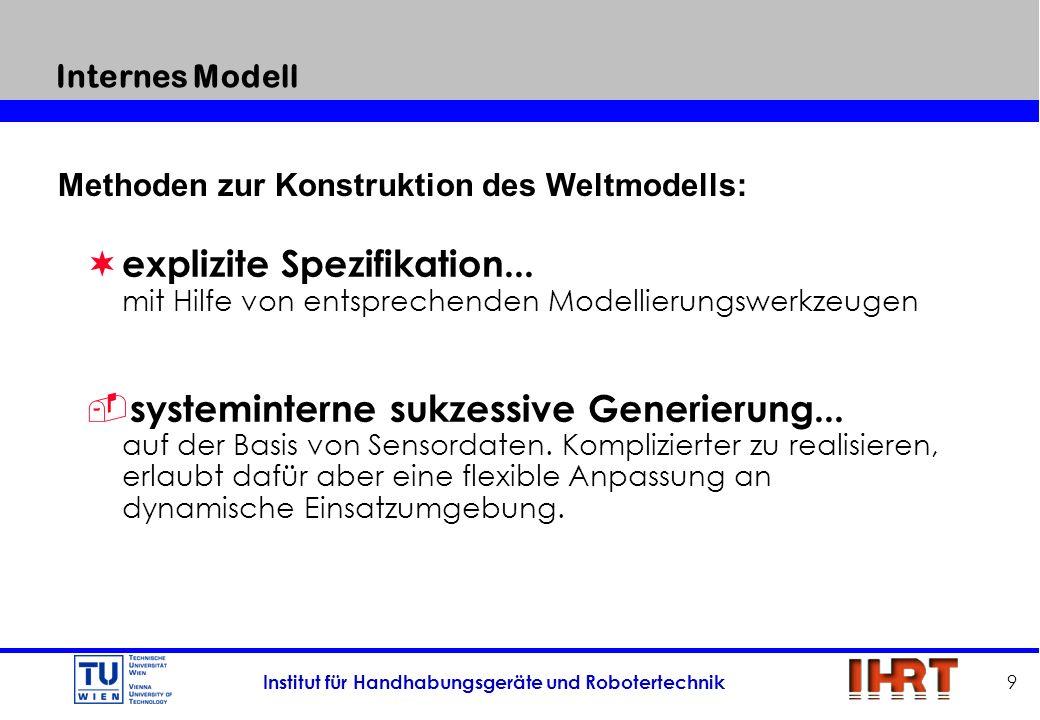 Institut für Handhabungsgeräte und Robotertechnik 9 Internes Modell ¬ explizite Spezifikation... mit Hilfe von entsprechenden Modellierungswerkzeugen