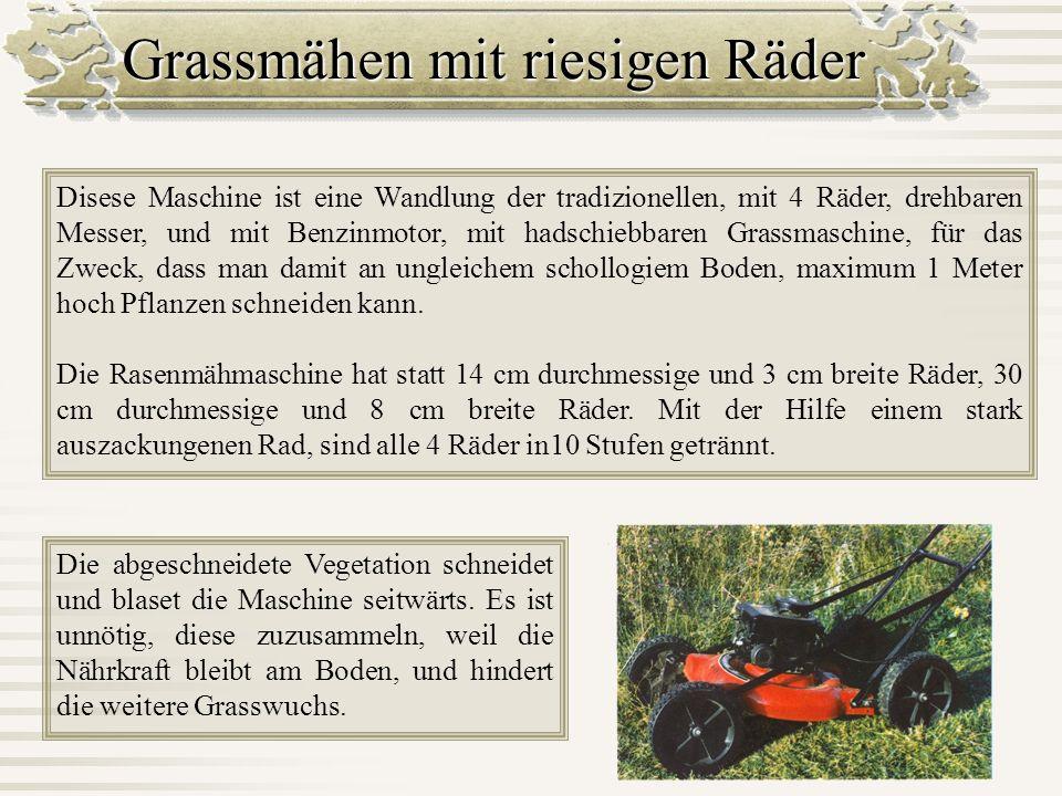 Grassmähen mit riesigen Räder Disese Maschine ist eine Wandlung der tradizionellen, mit 4 Räder, drehbaren Messer, und mit Benzinmotor, mit hadschiebb