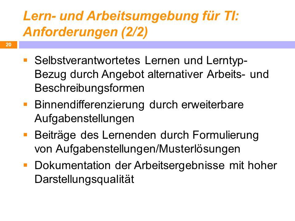 Lern- und Arbeitsumgebung für TI: Anforderungen (2/2) Selbstverantwortetes Lernen und Lerntyp- Bezug durch Angebot alternativer Arbeits- und Beschreib