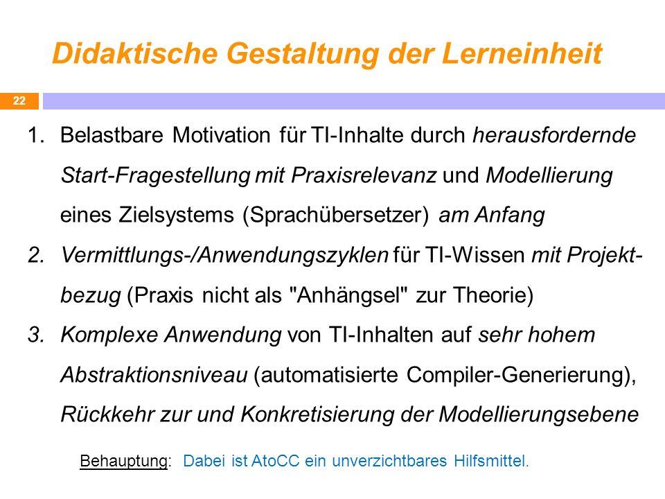 Didaktische Gestaltung der Lerneinheit 22 1.Belastbare Motivation für TI-Inhalte durch herausfordernde Start-Fragestellung mit Praxisrelevanz und Mode