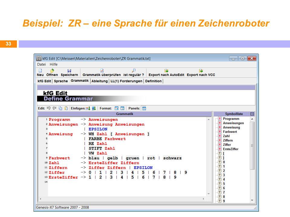 Beispiel: ZR – eine Sprache für einen Zeichenroboter 33