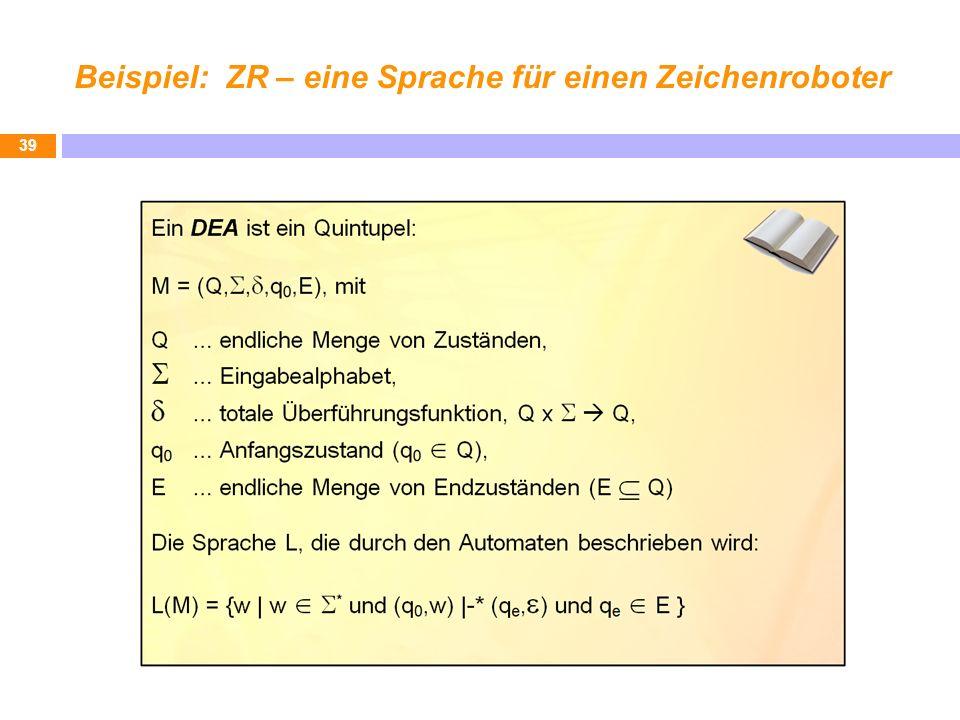 Beispiel: ZR – eine Sprache für einen Zeichenroboter 39