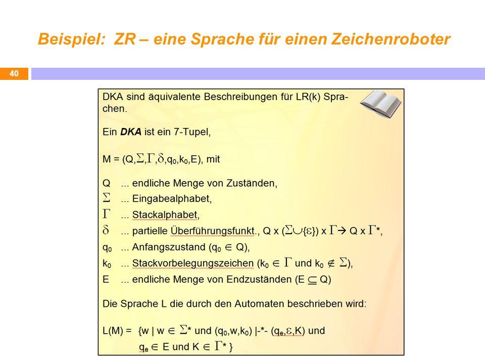 Beispiel: ZR – eine Sprache für einen Zeichenroboter 40