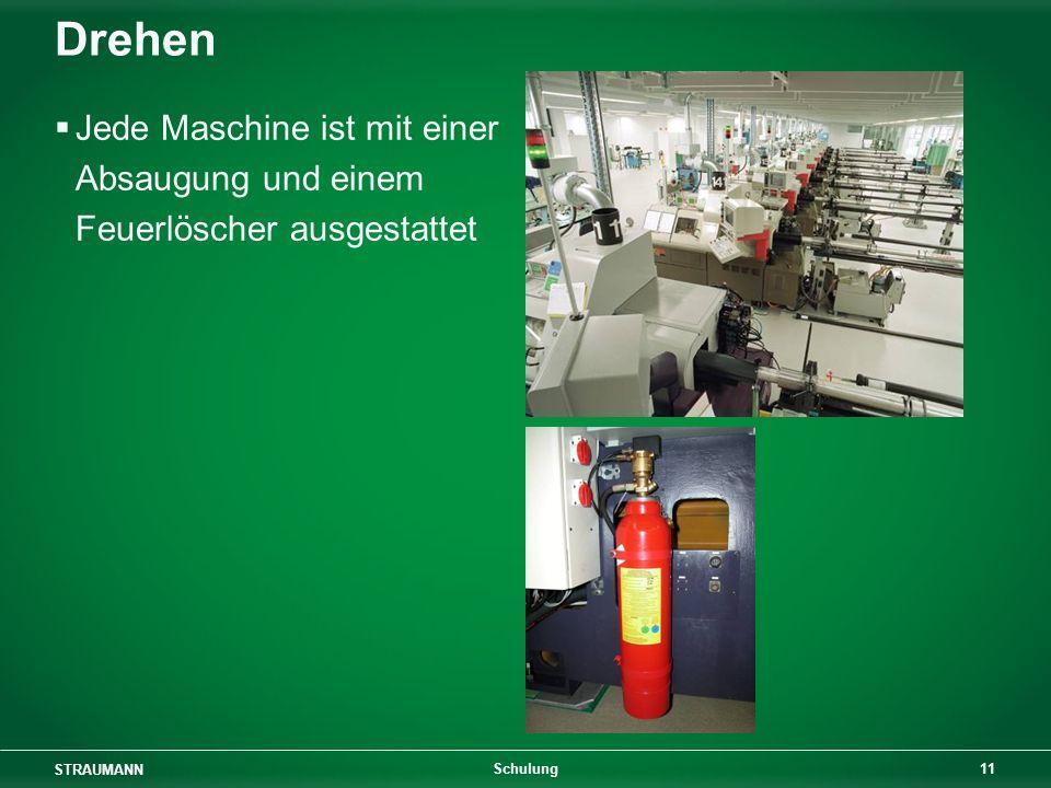 STRAUMANN 11 Schulung Drehen Jede Maschine ist mit einer Absaugung und einem Feuerlöscher ausgestattet