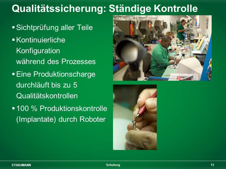 STRAUMANN 13 Schulung Qualitätssicherung: Ständige Kontrolle Sichtprüfung aller Teile Kontinuierliche Konfiguration während des Prozesses Eine Produktionscharge durchläuft bis zu 5 Qualitätskontrollen 100 % Produktionskontrolle (Implantate) durch Roboter