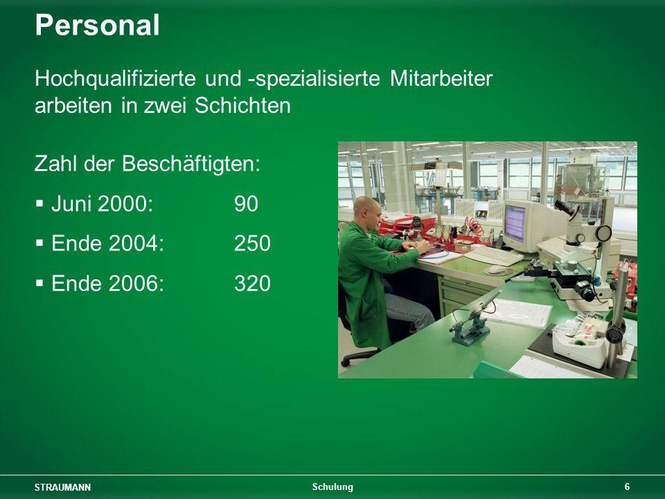 STRAUMANN 6 Schulung Personal Hochqualifizierte und -spezialisierte Mitarbeiter arbeiten in zwei Schichten Zahl der Beschäftigten: Juni 2000:90 Ende 2004:250 Ende 2006: 320