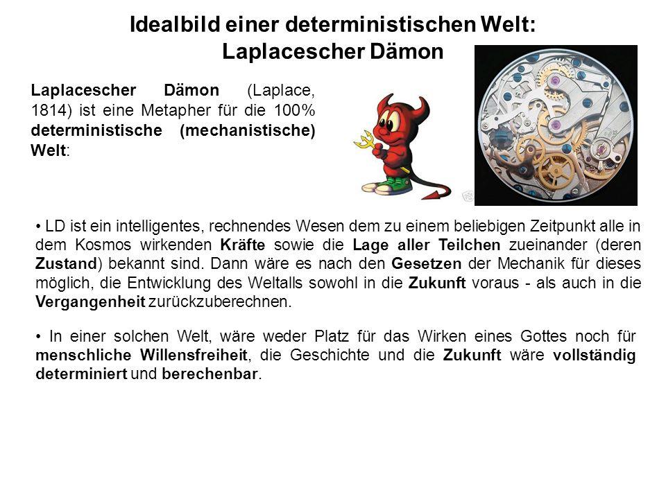 Idealbild einer deterministischen Welt: Laplacescher Dämon LD ist ein intelligentes, rechnendes Wesen dem zu einem beliebigen Zeitpunkt alle in dem Ko