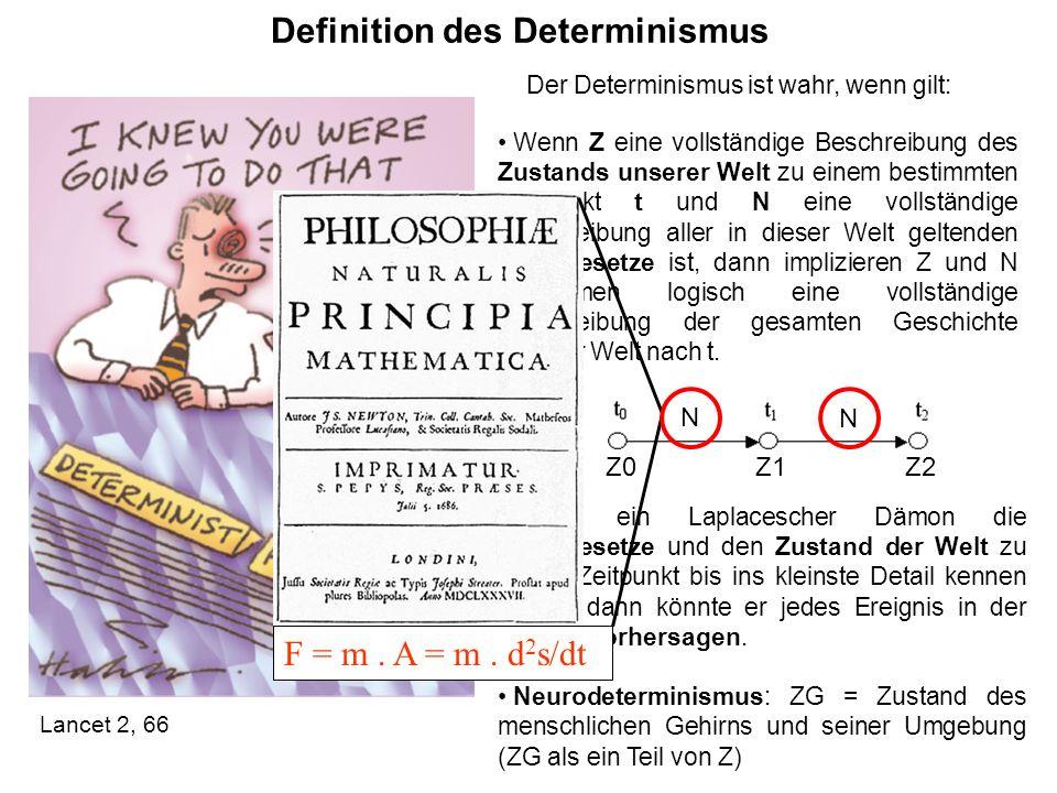 Definition des Determinismus Lancet 2, 66 Wenn ein Laplacescher Dämon die Naturgesetze und den Zustand der Welt zu einem Zeitpunkt bis ins kleinste De