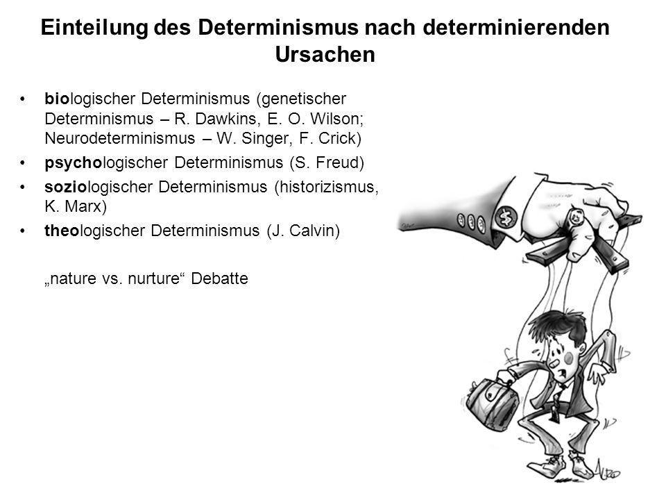 Einteilung des Determinismus nach determinierenden Ursachen biologischer Determinismus (genetischer Determinismus – R. Dawkins, E. O. Wilson; Neurodet