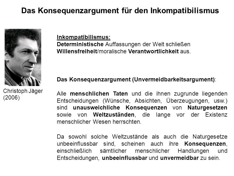 Das Konsequenzargument für den Inkompatibilismus Christoph Jäger (2006) Inkompatibilismus: Deterministische Auffassungen der Welt schließen Willensfre