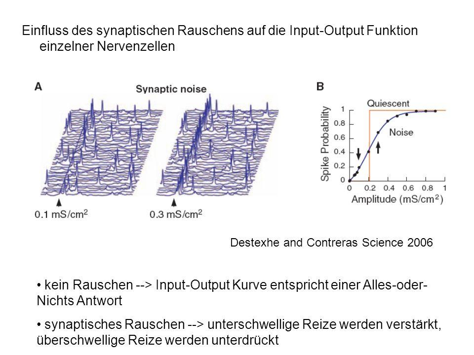 Einfluss des synaptischen Rauschens auf die Input-Output Funktion einzelner Nervenzellen kein Rauschen --> Input-Output Kurve entspricht einer Alles-o